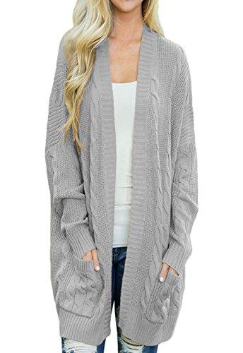 HUUSA Sexy Womens Open Front Knit Texture Long Cardigan Sweater Coat XXL Grey (Sweater Coat Cardigan Long)