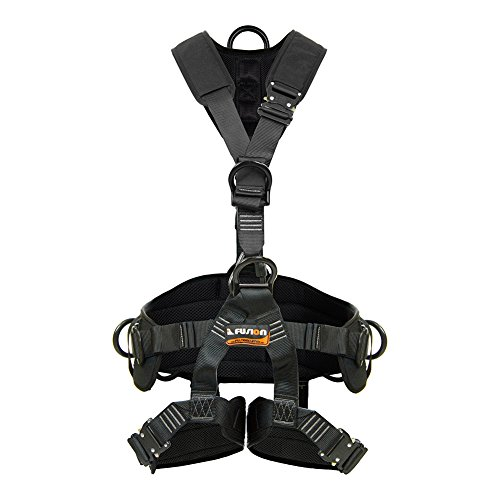 Fusion Climb Tac Rescue Tactical Full Body EVA Padded Heavy Duty Adjustable Zipline Harness 23kN L-XL Black by Fusion Climb