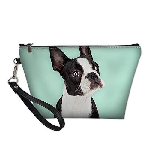 HUGS IDEA Women Travel Makeup Bag Adorable Boston Terrier Print Cosmetic Storage Pouch Clutch Bags,Turquoise
