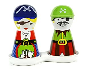 Pirate Couple Ceramic Salt and Pepper Shakers Set