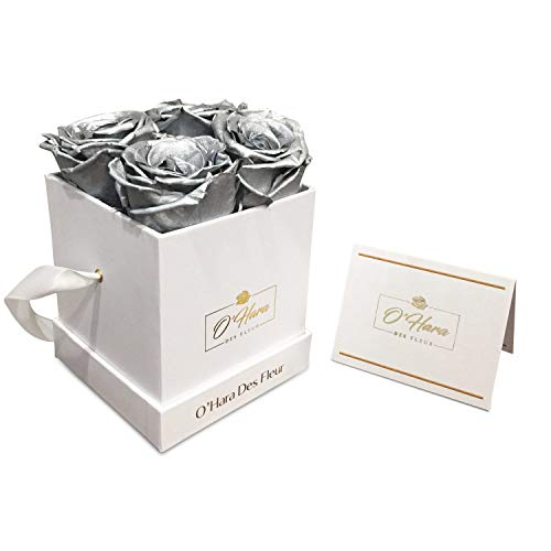 - O'Hara Des Fleur Preserved Rose, Real Flowers, Handmade Flowers in a Box | Color, and Style Up to 1 Year | Flowers Best Gift for Her, Birthday, Anniversary (Silver/White Box)