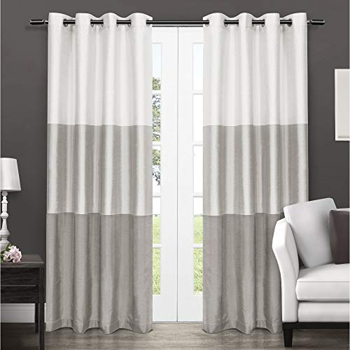 Exclusive Home Curtains Chateau Striped Faux Silk Window Curtain Panel Pair with Grommet Top, 54x108, Dove Grey, 2 Piece