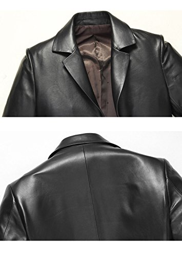 Men New Men Self Suit cultivation Of Leather Jacket Coat A Down Long Collar Section Leather Windbreaker qtddW8r