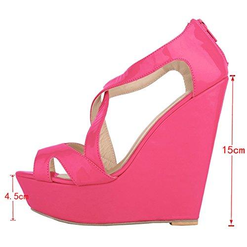 EKS - Zapatos de Tacón Mujer Rojo - Rot-Lackleder