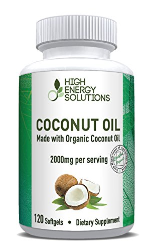HIGH ENERGY SOLUTIONS Organic Coconut Oil Capsules Supplement Max Strength 2000mg! 120 Non-GMO Softgels For Ultimate Bioavailability And Absorption – Rich In MCFA and MCT