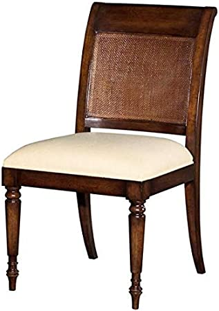 Amazon Com Reproduction Dining Chair Jamaican Regency Cane Wood Mahogany Fabric Chairs
