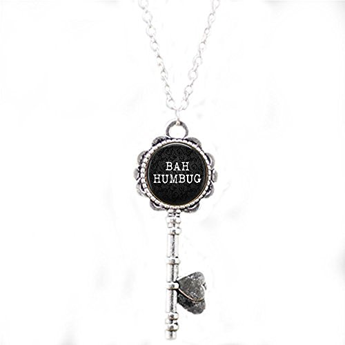 BAH Humbug Key Necklace - Funny Christmas Quote Jewelry -