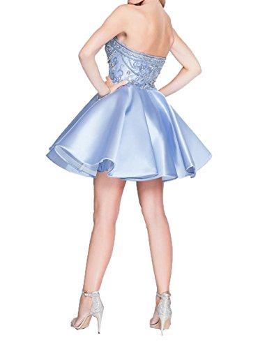 Charmant Blau Herzausschnitt Kurzes Cocktailkleider Satin Damen Mini Promkleider Himmel Attraktive Abendkleider Partykleider 4qgS4