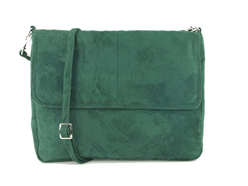 Handbag Cross Bag Faux LONI Suede Forest in Green Shoulder Body Clutch wqax6XZT