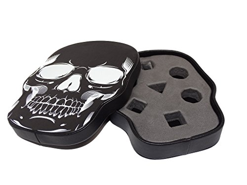 Easy Roller Dice Co. Black Skull Dice Display and Storage Case For 7 Piece Dice Sets- Display your Favorite Set or Store up to 21 Dice. Leatherette Material with Removable Foam Insert