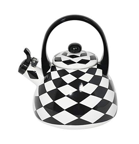 HOME-X Black Checkered Whistling Tea Kettle, Cute Animal Teapot, Kitchen Accessories and Decor (Black Teapot White And)
