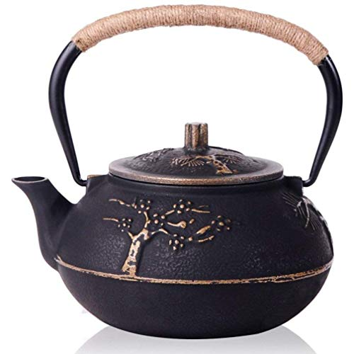 - High Capacity 900ml Japanese Style Cast Iron Teapot Water Kettle with Stainless Steel Infuser Strainer Plum Blossom 30 Ounce Tea Pot