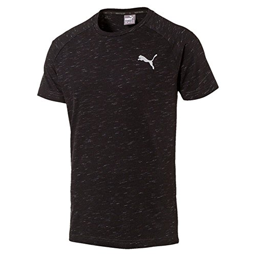 PUMA Men's Evostripe Tee Shirt Crew Neck Keeps You Dry Large Black Heather