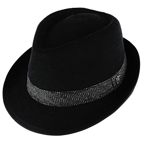 Classic Black Men/'s Wool Felt Godfather Gangster Mobster Gentleman Fedora Hat