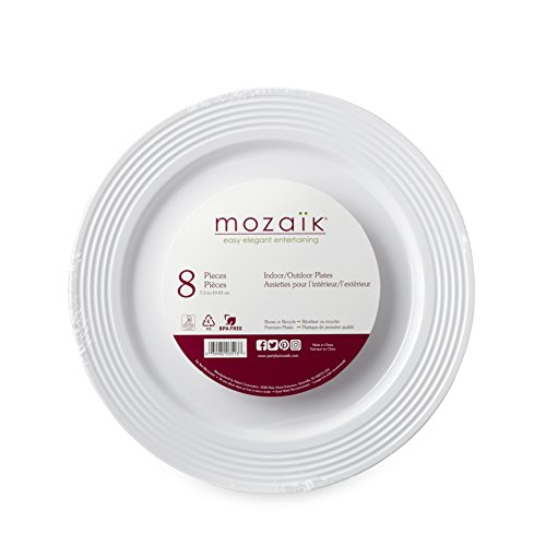 "Mozaik Premium Plastic 7.5"" White Ring Accent Plates, 8 Count"