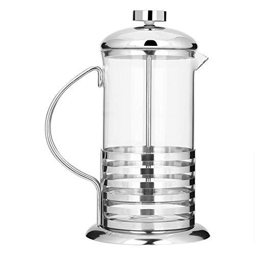 Cafetera – 600 ml/800 ml portátil de acero inoxidable de vidrio prensa francesa taza de café olla émbolo tetera(600ml)