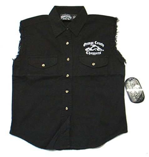 Orange County Choppers Embroidered OCC Biker Ladies Black Denim Vest (L)