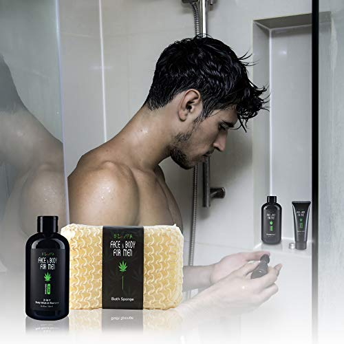DLuxSpa Sandalwood Skincare Shaving and Bath Gift Basket Set for Men with Hemp Oil Extract 5