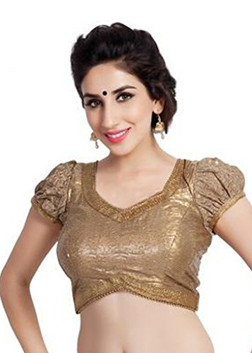 (Bollywood Blouses Women's Designer Copper Sequence Saree Blouse Medium Copper)