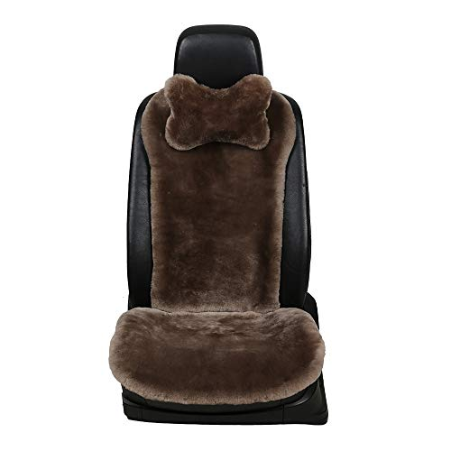 OGLAND 100% Natural Fur Sheepskin Universal car seat Covers for seat Cushion Accessories Automobiles (3 Pack Front, Teak)