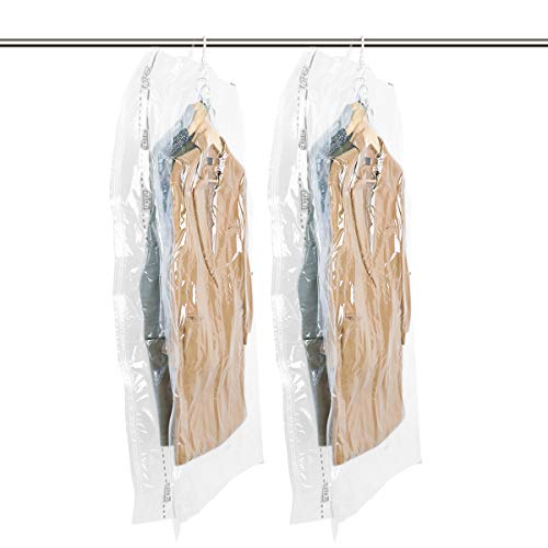 TAILI Hanging Vacuum Wide-Side Space Saver Bags, Set of 2 Long Size (53x27.6x15), Vacuum Seal Storage Bag Clear Bags for Clothes Suits, Dress or Jackets, Closet Organizer