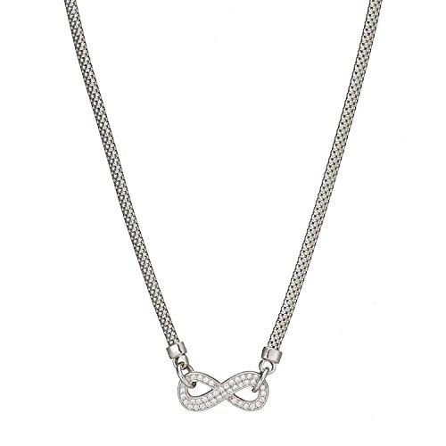Argent sterling infinity CZ Pendentif chaîne collier 43,2cm (43cm) 8.0G