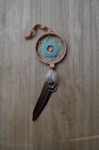 Native American Car Mirror Feather Dream Catcher Amulet Handmade by Riot of Colors