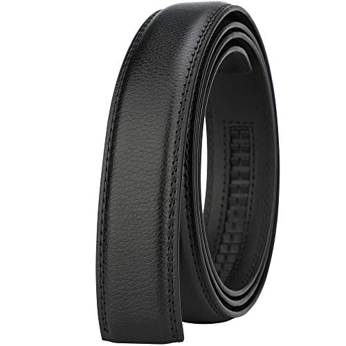 Lavemi Men's Real Leather Ratchet Dress Belt with Automatic Buckle,Elegant Gift Box(Pebble Black Leather) ()
