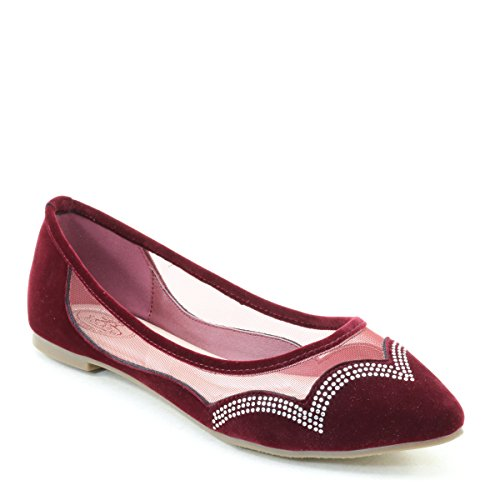 New Brieten Womens Rhinestone Mesh Pointed Toe Flats Comfortable Shoes Wine WsmRR2l0M5
