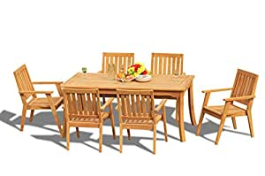 "7 PC A Grade Outdoor Patio Teak Dining Set - 60"" Rectangle Table & 6 Praque Stacking Arm Chairs"