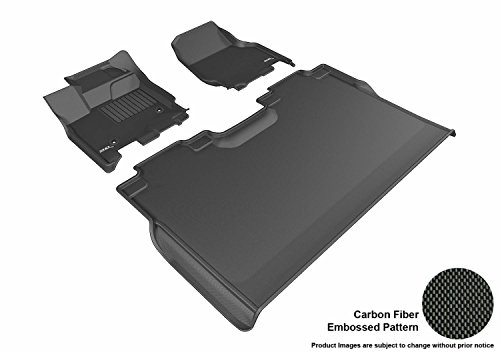 3D MAXpider Complete Set Custom Fit All-Weather Floor Mat for Select Ford F-150 SuperCrew Models - Kagu Rubber (Black)