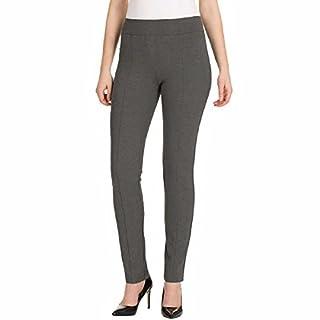 Hilary Radley Women's Narrow Leg Stretch Pull-On Slim Fit Ponte Pant (Medium, Melange Grey)