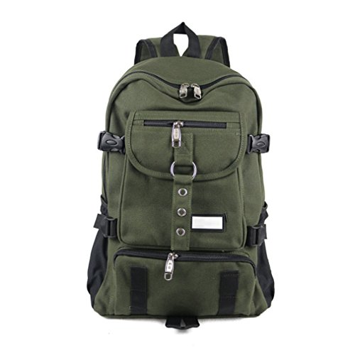 singsun New Fashion Arcuate Shouider Strap Zipper Solid Casual Bag Male Backpack School Bag Canvas Bag Designer Backpacks For Men Army Green