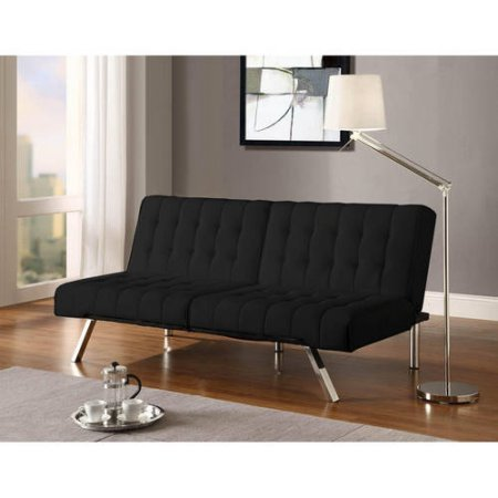 Convertible Futon with Metal Legs, Luxury and Modern Look and Design, Simple Click-Clack Technology, Comfortable Materials for Best Experiences, Folding Back + Expert Guide (Black Faux Leather)