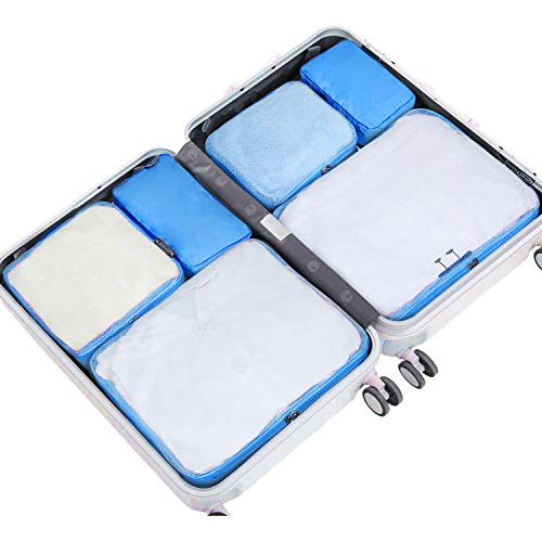 G4Free Packing Cubes 6pcs Lightweight Travel Cube Set of Luggage Accessories Organizers(Blue)
