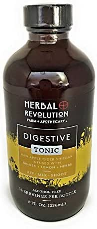 Digestive Tonic | Lemon and Ginger Flavored Tonic Made with Traditional Herbs that Support Digestive and Nervous System Health | by Herbal Revolution | 8 FL OZ Bottle