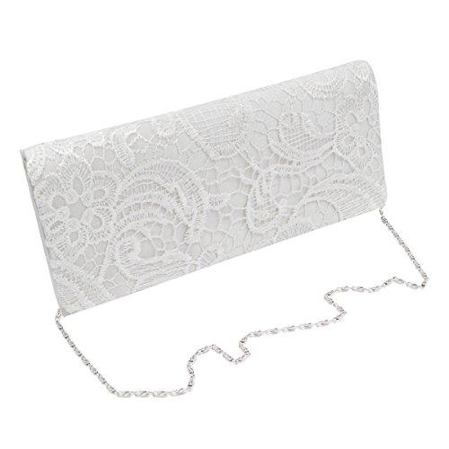 Flap Evening Paisley Premium Fabric Silver Floral Lace Clutch Bag Satin White XqTUHx