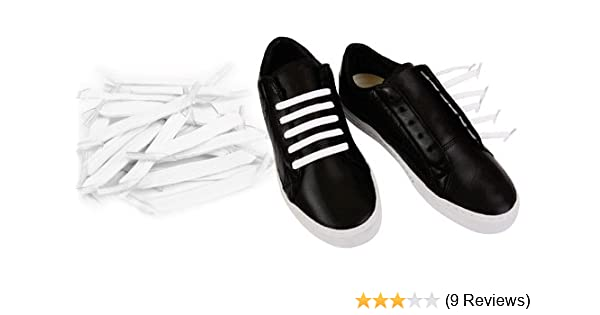 9a1536f47e2a Amazon.com  No Tie Shoelaces Flat Fat Black or White Choice Elastic Stretch  Laces (Converts Your Shoes to Slip on Shoes) (White)  Beauty