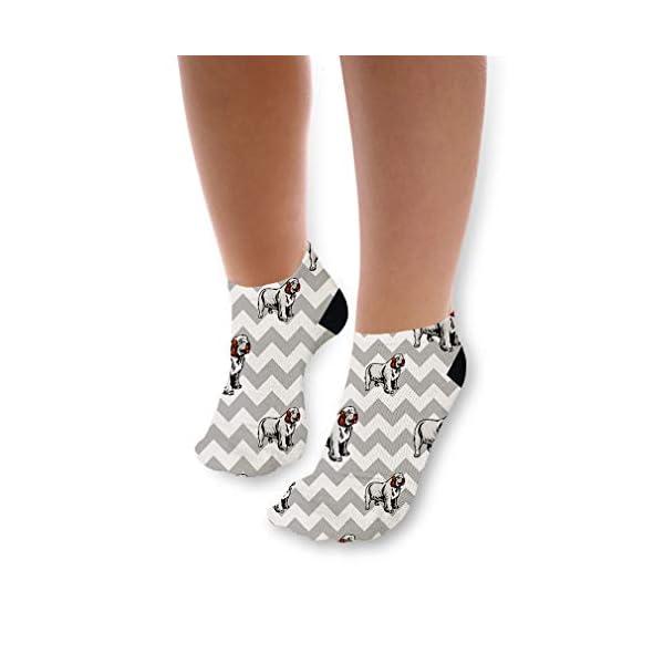 Clumber Spaniel Dog Gray Zigzag Pattern Unisex Toddler Baby Ankle Socks Funny Novelty Kids Socks Polyester & Polyester Blend - Single 1