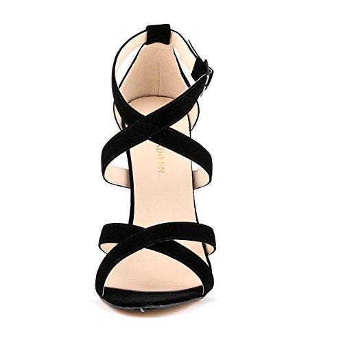 GRRONG Sandalias De La Mujer Sandalias Finas Con Punta Abierta Black