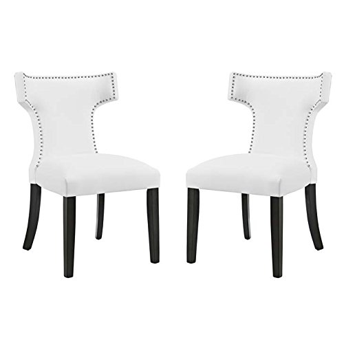 White Accent Chair Set (Modway Curve Mid-Century Modern Upholstered Vinyl Two Dining Chair Set With Nailhead Trim In White)