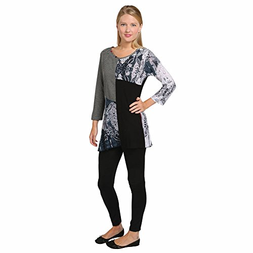 Women's Tunic Top - City Streets Black White Shirt - Dip Hem 3/4 Sleeve - 1X