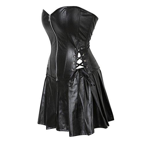 b41a8d7edbd32 Women s PU Faux Leather Steampunk Corset Bustier Gothic Lingerie Clubwear  6X-Large Black