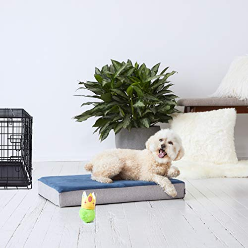 BarkBox Small Blue Ultra Plush Orthopedic Memory Foam Dog Bed or Crate/Kennel Mat - Removable Washable Cover - Free Surprise