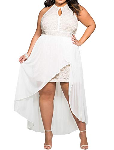 8818 - Plus Size Hi Low Lace Overlay Halter Cocktail Wedding Maxi Dress (1X, White)