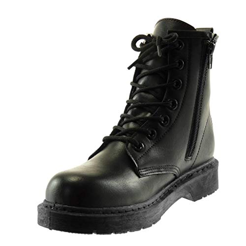 Fashion Biker Women's cm Block Black Heel Combat Boots Ankle Boots Angkorly Shoes 3 Booty UTxCnwCq5