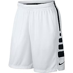 Men\'s Nike Elite Stripe Basketball Shorts White/Black/Wolf Grey Size X-Large