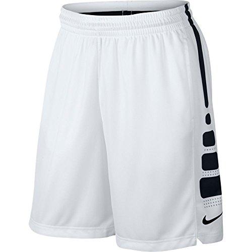 Men's Nike Elite Stripe Basketball Shorts White/Black/Wolf Grey Size XX-Large