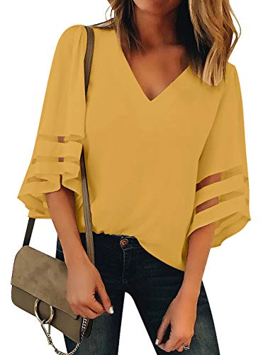 Vetinee Women's Yellow 3/4 Bell Sleeve Shirt Mesh Panel Blouse V Neck Casual Loose Tops XX-Large (US 18-20) ()