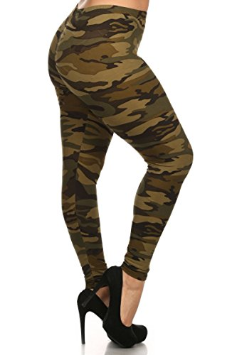 Leggings Depot NEW ARRIVALS Women's Popular BEST Printed Plus Fashion Leggings (Camouflage Military A464)